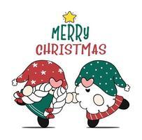 casal fofo gnomo de natal, menino e menina dançando, ideia de cartão de feliz natal, desenho animado doodle vetor plana