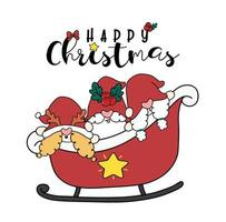 grupo de três gnomo de Natal feliz smilling no trenó de Papai Noel, vetor plana de doodle bonito dos desenhos animados.