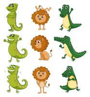 Um leão, um camaleão e um crocodilo vetor