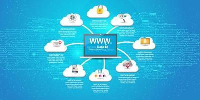 ícone de conceito de vpn de segurança de internet vetor