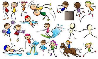 Crianças fazendo atividades esportivas vetor
