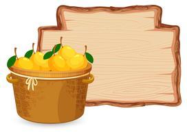 Manga na cesta na placa de madeira vetor