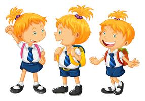 Crianças, em, uniforme escola vetor