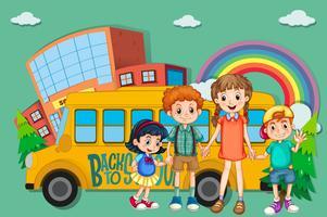Crianças e ônibus escolar vetor