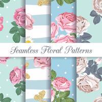 Definir coleção de padrões sem emenda florais com rosas e borboletas vetor