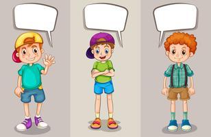 Bolhas do discurso design com três rapazes vetor