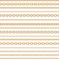 Teste padrão sem emenda de linhas chain do ouro no fundo branco. Ilustração vetorial