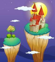 Um castelo na parte mais alta de um relevo vetor