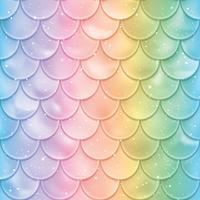 Peixe escalas padrão sem emenda. Textura da cauda da sereia em cores do espectro. Ilustração vetorial