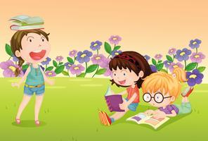 Meninas, leitura, livros vetor