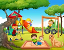 Crianças, tocando, em, pátio recreio vetor