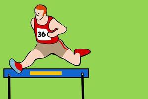 atleta de corrida pulando obstáculos vetor