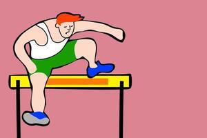 velocista de pista de corrida pulando obstáculos vetor