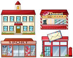 Uma escola, loja de donuts, loja de desporto e uma estação de correios vetor