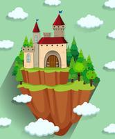 Castelo de construção na montanha vetor