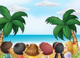 Um, grupo crianças, praia vetor