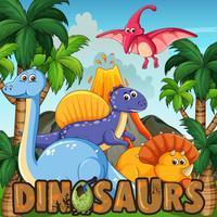 Um desenho animado de dinossauros vetor