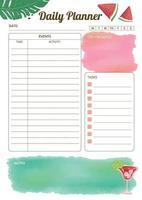 planejador de produtividade diária de melancia em aquarela vetor