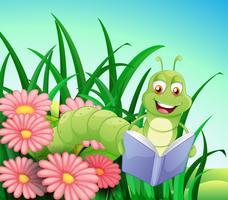 Um verme lendo um livro vetor