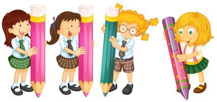 Estudantes e lápis vetor