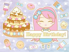 Cartão de feliz aniversário com linda garota de chibi sorridente dos desenhos animados vetor