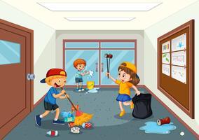 Estudante, limpeza, escola, corredor vetor