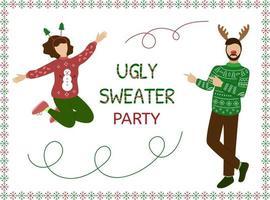 festa de camisola feia. conceito de natal. as pessoas se divertem. feliz mulher e homem pessoas com roupas de suéter. ilustração vetorial vetor