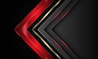 abstrato vermelho ouro cinza seta direção sobreposição geométrica no escuro metálico hexágono padrão de malha design moderno luxo futurista fundo vetor