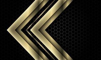 abstrato ouro cinza seta direção sobreposição geométrica no escuro metálico hexágono padrão de malha design moderno luxo futurista fundo vetor