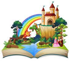 Um livro aberto de conto de fadas vetor
