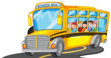 Meninos e meninas andando em ônibus escolar vetor