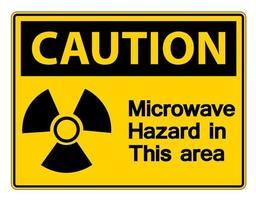 aviso sinal de perigo de microondas em fundo branco vetor