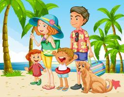 Férias de verão com a família na praia vetor