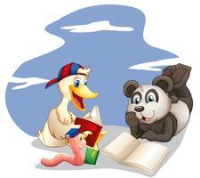 Animais lendo livros vetor