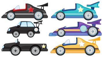 Seis estilos diferentes de carros de brinquedo vetor