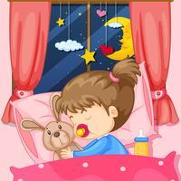 Cena noturna com garota dormindo na cama vetor
