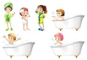 Crianças, tomando banho vetor