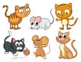 Gatos e camundongos vetor