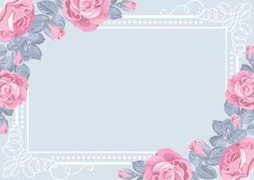 Modelo de cartão de flora com rosas e moldura.