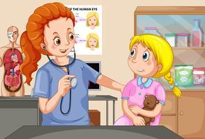 Um checkup de garota com médico vetor