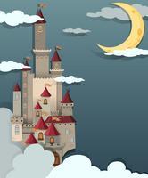 Cena do castelo durante a noite vetor