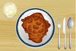 Prato de feijão em uma mesa de madeira vetor