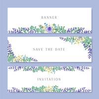 Aquarela flores com banner de texto, exuberante flores aquarelle pintados à mão isolado no fundo branco. Design fronteira para cartão, salvar a data, cartões de convite de casamento, cartaz, design de banner.