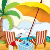 Cena de praia com cadeiras e guarda-chuva
