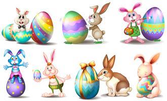 Ovos de Páscoa com coelhinhos brincalhões vetor