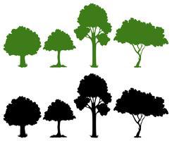 Jogo, de, silueta, árvore vetor