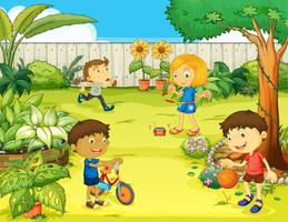 Crianças brincando em uma bela natureza vetor