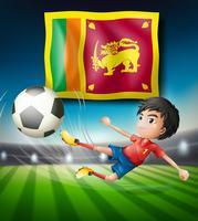 Jogador de futebol com bandeira do país de Gales vetor