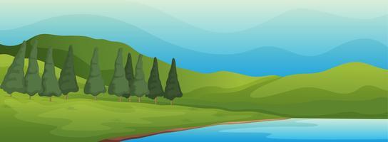 paisagem verde e lago vetor