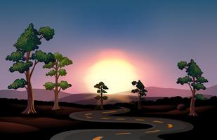 Uma estrada longa e sinuosa indo para a floresta